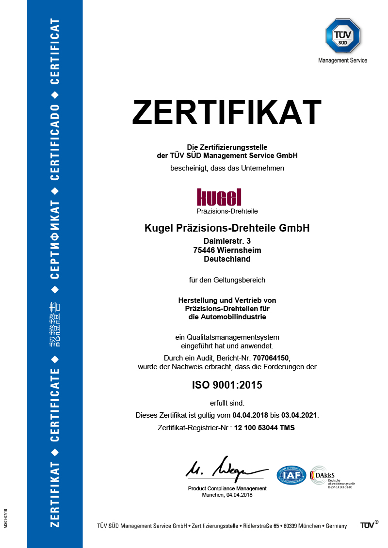 ISO 9001:2015, deutsch